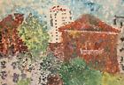 Vintage pointillist watercolor painting landscape