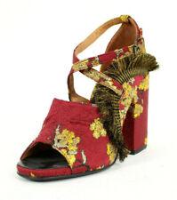 DRIES VAN NOTEN Red & Metallic Gold Floral Brocade Heels Sandals 38.5