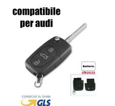 🇮🇹Guscio Chiave Cover Telecomando 3 Tasti CR2032 PER AUDI Q5 A1 A3 A4 A6 A8 *
