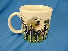 Coffee mug tea cup Dog Bichon Frise pictures puppies show dogs fuzzy friends art