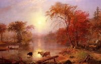 "Dream-art Oil painting sunset Summer landscape - Hudson River with deer 24""x36"""