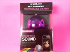 KEYCHAIN DISCO BALL RECHARGEABLE KEYCHAIN AMPLIFIED MINI SOUND SPEAKER PURPLE