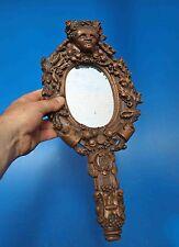 splendide face à main en bois sculpté 19ème d'une tête végétale -  miroir