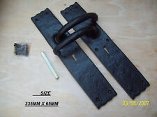 BLACK ANTIQUE HEAVY LEVER LOCK BARN STABLE DOOR HANDLES