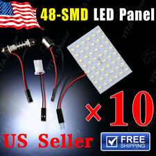 10X Festoon T10 BA9S White LED 48SMD Panel Interior Dome Map Light Bulb Lamp 12V