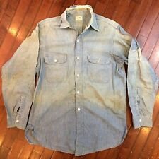 Big Mac Sanforized Chambray Mens XL Vintage 1950s Patched Work Workwear Shirt