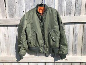 Alpha Industries Mens MA-1 Flight Bomber Jacket Green/ Orange Size Medium Vtg.