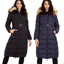 Women's Long line Faux Fur Down Hood Shell Length Winter Puffer Full Jacket Coat