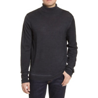 Nordstrom Signature Mens Black Merino Wool Turtleneck Sweater Size 2XL