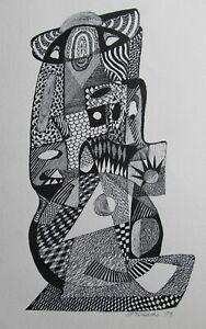 """STAN TERLECKI AUSTRALIAN INK """"SCULPTURE ABSTRACT DESIGN"""" 1979  A"""