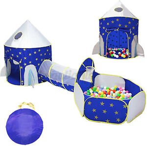 3 In 1 Play Tent Kids Toddlers Crawl Tunnel Up Playhouse Ball Pit Xmas Gift Fun
