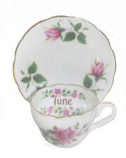Reutter FLOWER OF THE MONTH Porcelain Miniature Tea Cup & Saucer Set JUNE