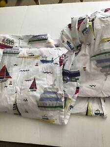 Pottery Barn Kids Boats Full/Double Sheet Set One Flat One Fitted 1 Pillowcase