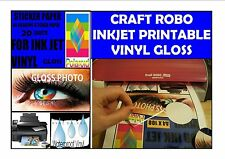 CRAFT ROBO VINYL COATED INKJET PRINTABLE GLOSS PHOTO SELF ADHESIVE  A4 20 SHEETS