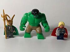 Lego Marvel Thor, Loki, and Hulk w/ Tan Pants Minifigures | From Set 6868