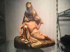 pieta terracotta mater dolorsa  jesus maria clay old antique polychrome