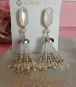Kendra Scott Dove Ivory Mother of Pearl Tassel Earrings Rhodium Plated NWT