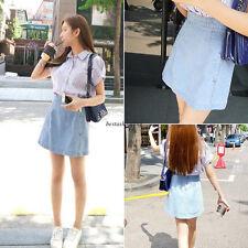 Korean Women High Waist Denim Causal A line Beach Short Skirt Jeans Light Blue L