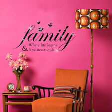 Walplus Wall Sticker Decal Family Quote with Swarovski Crystals Home Decorations