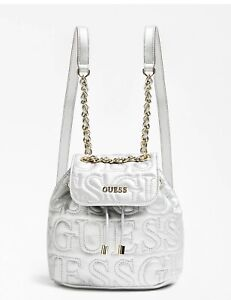 BNWT Guess Ginger Backpack, Color Silver 100% Genuine ..