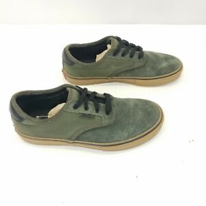 Vans Off The Wall Canvas Sneaker Pro Skate Green Lace Up Shoes Big Kids Size 5.5