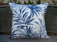 Outdoor Blue & White Tropical Palm Leaf Print Cushion Cover 45cm Au Made