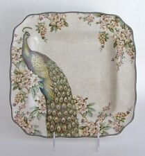 """222 Fifth Empress Garden DINNER PLATES Peacock SQUARE about 11"""" side SET 4"""