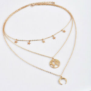 Chocker Map Pendant Moon Star Necklace Jewelry Party Multi-Layer Necklace YW