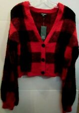 Wild Fable Women's XXL Red Black Checked Plaid Sweater V Neck Button Crop Top