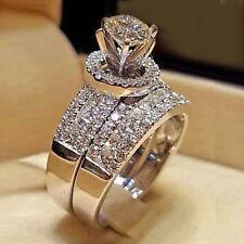 Gold Bridal Set Engagement Rings for Women's 5 Ct Diamond Round Cut 10k White