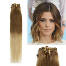 18inches 7PCS Clip In Remy Straight Human Hair Extensions 70g #12/20 ombre color