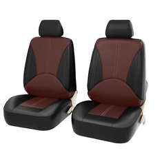 Black Car Seat Covers Front Rear Full Set Synthetic Leather Protectors Truck SUV