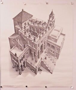 """Ascending and Descending ART POSTER M.C. Escher 21.5"""" X 25.5"""" (b66)"""