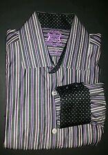 English Laundry Shirt Striped L/S Flip Cuff Purple Christopher Wicks 16 32/33
