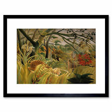 Animals Surprised Rousseau Tiger Framed Art Print Poster 12x16 Inch