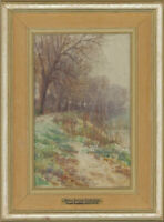John Frank Swingler - Early 20th Century Watercolour, Autumn River Bank