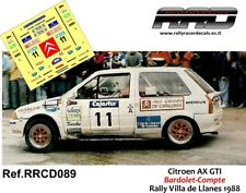 DECAL/CALCA 1/43; Citroen AX GTI; Bardolet-Compte; Rally Villa de Llanes 1988
