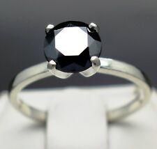 1.55cts 7.5mm Real Natural Black Diamond Engagement Ring AAA Grade & Value