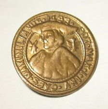 Old Vintage Brass Metal Button Holy Roman Emperor Maximilian MAXIMILIANUS 1493