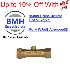 15mm Brass Double Check Valve/Non Return Valve DCV. Fully WRAS Approved Bulk Buy