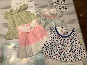 Qty 4 Vintage girl baby doll Pinafore Apron dresses Multi color