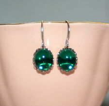 Vintage Emerald green Austrian glass Cabochon bridesmaid artisan earrings