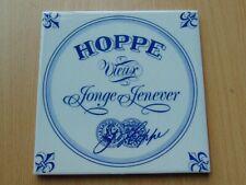 VINTAGE DUTCH BLUE + WHITE HOPPE JENEVER ADVERTISING CERAMIC TILE BREWERY