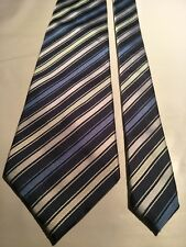 Geoffrey Beene Men's Vintage Silk Tie in a Navy Green and Silver Stripe - BNWTO