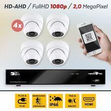 AHD 4 Kanal Videoüberwachung Set DVR Überwachungssystem 4 x Domekamera 1080p