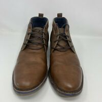 Men's Freeman Brent Memory Foam Leather Brown Boots Size 12M