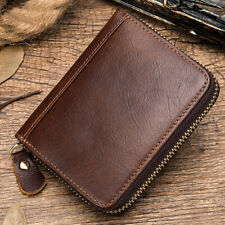 100% Genuine Leather Men's Vintage Business Zipper ID Card Holder Coin Purse