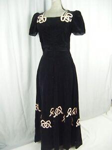 Rare F.O.G.A. Miss Junior Vtg 40s Black Velvet Pink Bows Long Dress-Bust 36/XS