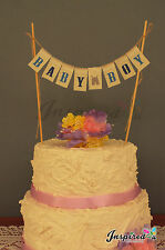 BABY BOY Shower Cake Topper Mini Bunting Banner Topping Mum To Be Sweet  Lace
