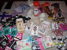 Big Lot Of Assorted Crafts / Jewelry, Ribbon, Earrings, Sticker Decals + More